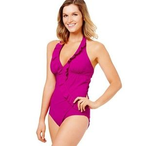 ASSETS by SPANX Pink One Piece Ruffle Swimsuit NEW